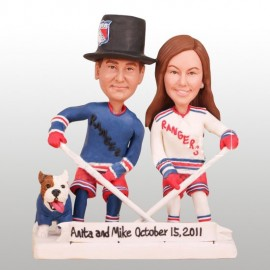 Unique New York Rangers Hockey Wedding Cake Toppers With Dog