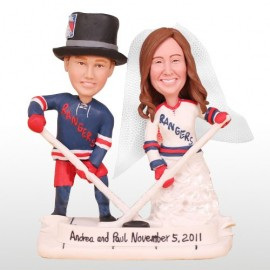 Unique New York Rangers Bride And Groom Hockey Wedding Cake Toppers
