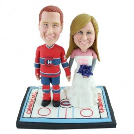 Unique NHL Bride And Groom Hockey Wedding Cake Toppers