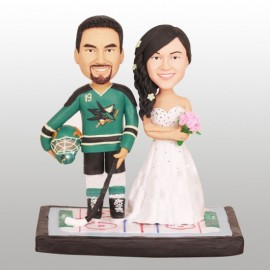 Personalised Sharks Bride And Groom Hockey Wedding Cake Toppers