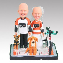 Personalised Funny Bride And Groom Bicycle Hockey Wedding Cake Toppers With Dogs
