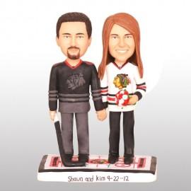 Personalised Blackhawks Birde And Groom Hockey Wedding Cake Toppers