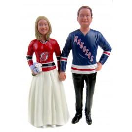Custom Rangers Hockey Wedding Cake Toppers Bride And Groom