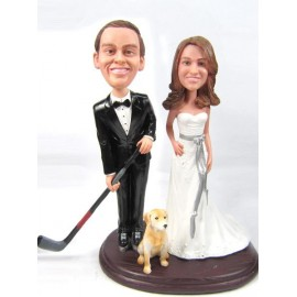 Personalised Bride And Groom Hockey Player Wedding Cake Toppers With Dog