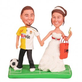 Soccer Groom And Shopping Bride Wedding Cake Toppers