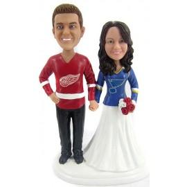 Personalised Bride And Groom Hockey Wedding Cake Toppers