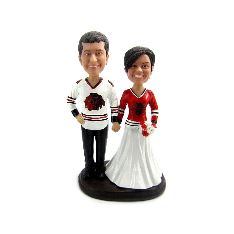Funny Bride And Groom Hockey Wedding Cake Toppers