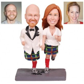 Running Bride And Groom Wedding Cake Toppers