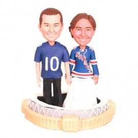 Personalised Funny Bride And Groom Football Wedding Cake Toppers