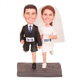 Bride And Groom Running Wedding Cake Toppers