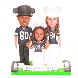 Personalised Bride And Groom Football Wedding Cake Toppers With Kid