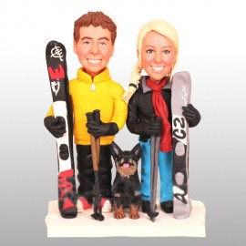 Skiing Wedding Cake Toppers