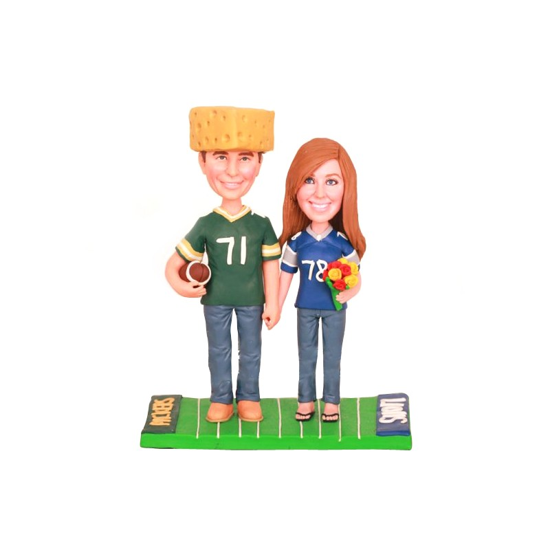 Personalised Funny Bride And Groom Football Themed Wedding Cake Toppers