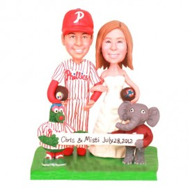 Personalised Funny Bride And Groom Football Themed Wedding Cake Toppers With Philly Phanatic