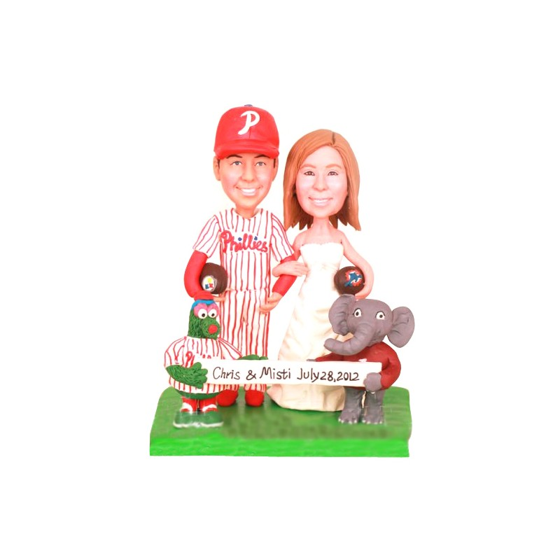 Personalised Funny Bride And Groom Football Themed Wedding Cake