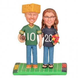 Personalised Green Bay Packers and Chicago Bears Football Themed Wedding Cake Toppers Bride And Groom