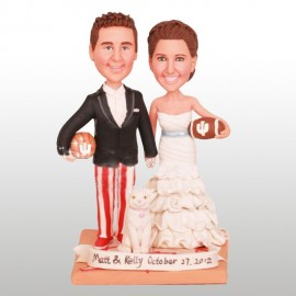 Personalised Football Themed Wedding Cake Toppers Bride And Groom With a Cat