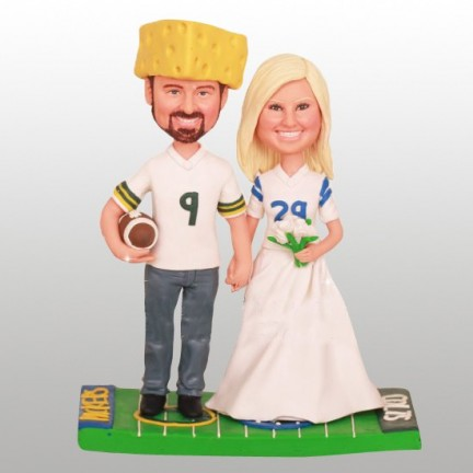 Personalised Indianapolis Colts and Green Bay Packers Football Themed Wedding Cake Toppers Bride And Groom