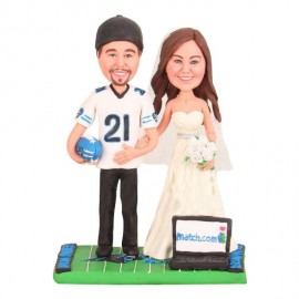 Personalised Funny Football Wedding Cake Toppers Bride And Groom