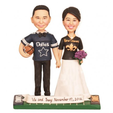 Personalised Orleans Saints and Dallas Cowboys Football Wedding Cake Toppers Bride And Groom