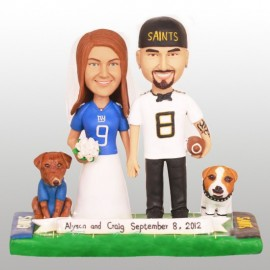 Unique Funny Bride And Groom Football Wedding Cake Toppers With Dogs