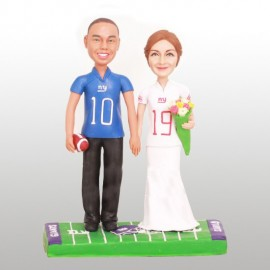Personalised New York Giants Football Wedding Cake Toppers Bride And Groom
