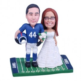 Custom New York Giants Football Wedding Cake Toppers Bride And Groom