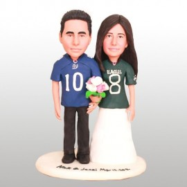 Custom New York Giants Bride And Groom Football Wedding Cake Toppers