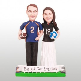 Custom Bride And Groom Football Wedding Cake Toppers
