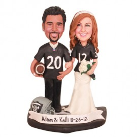 Personalised Oakland Raiders Football Wedding Cake Toppers Bride And Groom