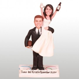 Personalised Bride And Groom Football Wedding Cake Toppers