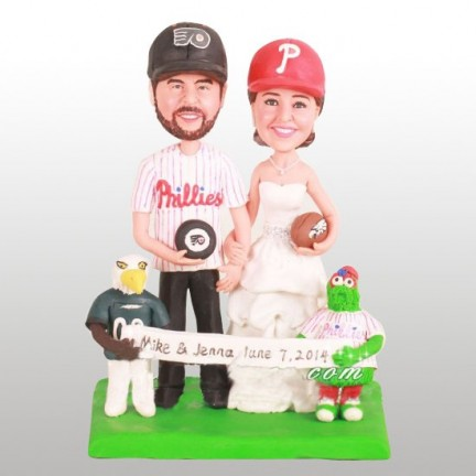 Unique Bride And Groom Football Wedding Cake Toppers With Phanatic
