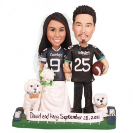 Unique Bride And Groom Dallas Cowboys Football Wedding Cake Toppers With Dogs