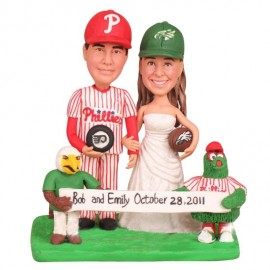 Unique Bride And Groom Hockey Football Wedding Cake Toppers With Phanatic