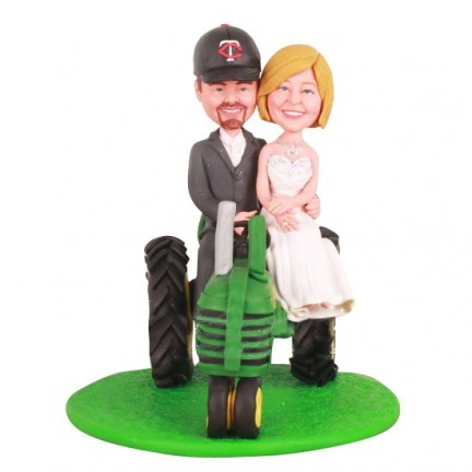 Country Farm Wedding Cake Topper with John Deere Tractor