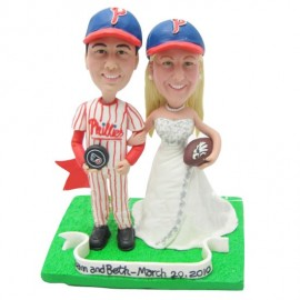 Personalised Bride And Groom Hockey Football Wedding Cake Toppers