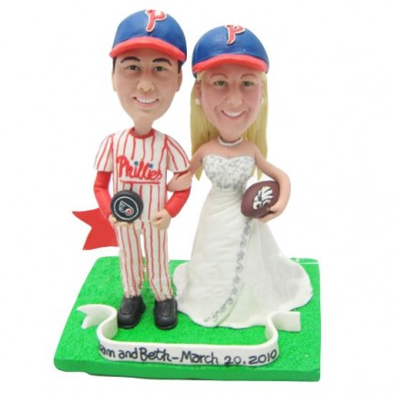 Personalised Bride And Groom Hockey Football Wedding Cake Toppers With Phanatic