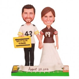 Custom Football Wedding Cake Toppers Bride And Groom