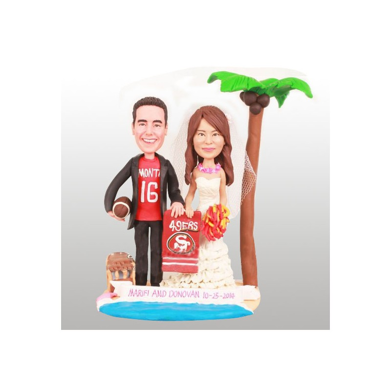 Personalised San Francisco 49ers Football Wedding Cake Toppers Bride And Groom Beach Themed