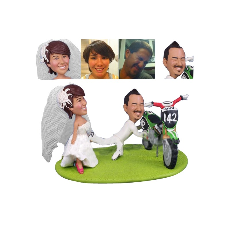 Funny Dirt Bike Wedding Cake Toppers Ball And Chain