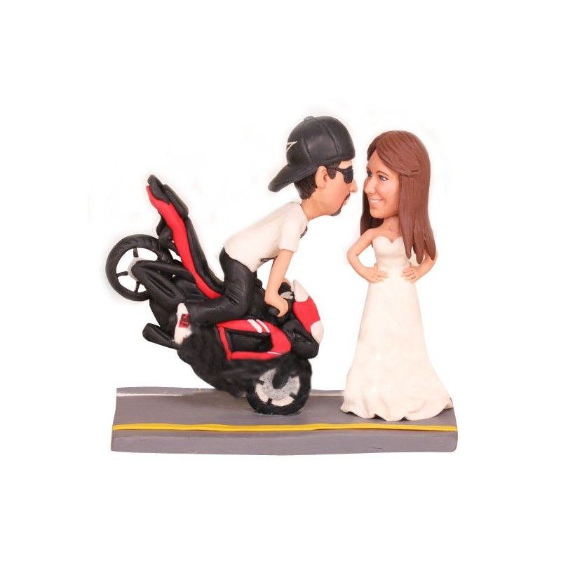 Funny Motorcycle Wedding Cake Toppers Ball And Chain