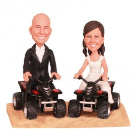 Riding on Sand ATV Motorcycle Wedding Cake Toppers