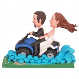 Riding Motorcycle Through Creek Wedding Cake Toppers