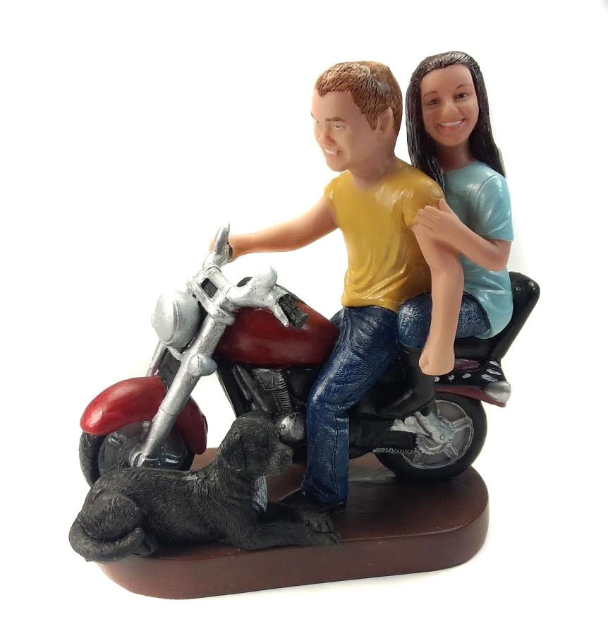 Causual Bride And Groom Motorcycle Wedding Cake Toppers With A Dog