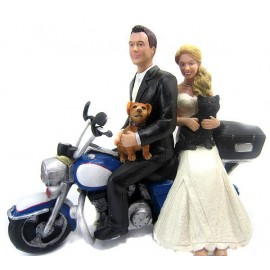 Causual Bride And Groom Motorcycle Wedding Cake Toppers With A Dog And Cat