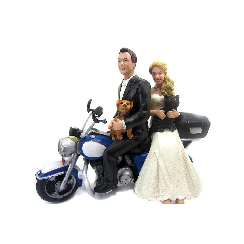 Causual Bride And Groom Motorcycle Wedding Cake Toppers With A Dog Cat