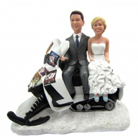 Snowmobile Wedding Cake Toppers