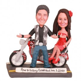 Bride Ride Motorcycle with Groom on Back Seat Wedding Cake ToppersBride Sitting Sideway on Motorcycle Wedding Cake Toppers