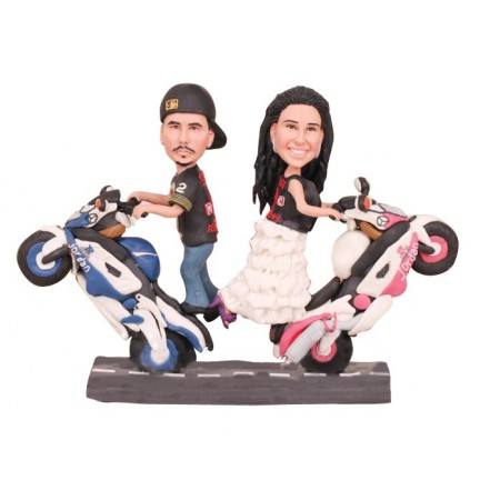 Bride And Groom Stand On The Motorcycle Wedding Cake Toppers