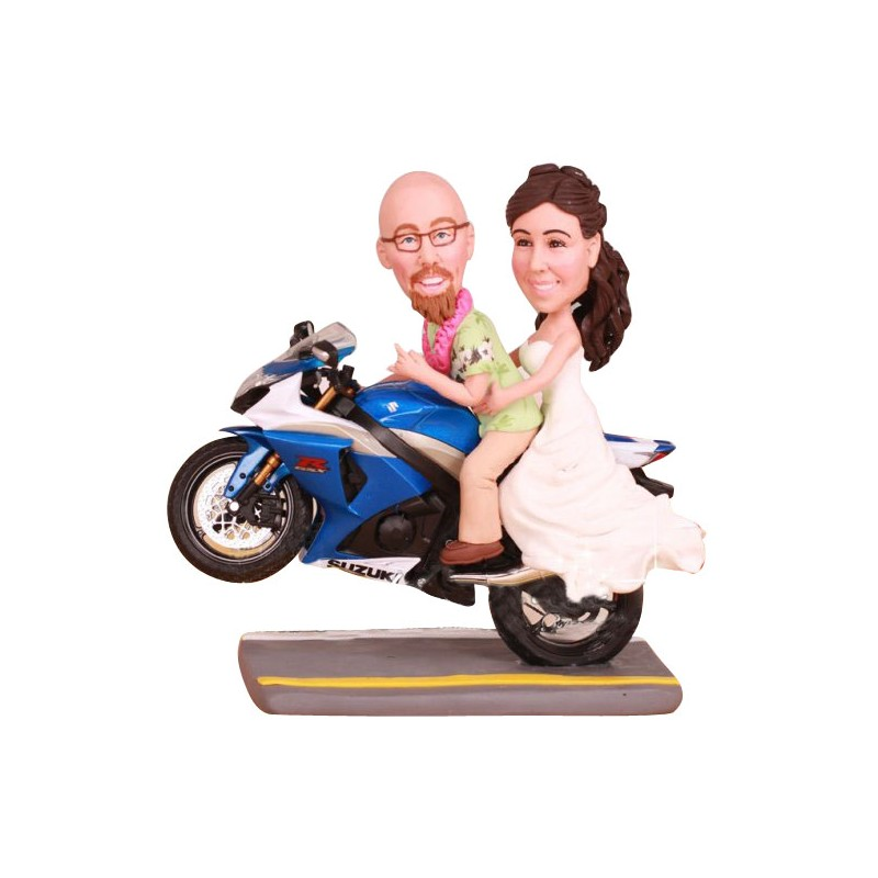 Bride And Groom Motorcycle Wedding Cake Toppers